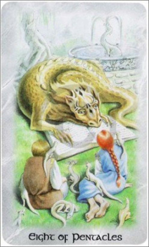 The Celtic Dragon Tarot by D.J. Conway (Author), Lisa Hunt (Artist). This Tarot Card is the Eight of Pentacles