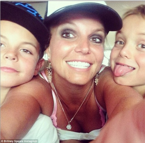 """Hi,"" Britney Spears  shared a family selfie recently posing with her two sons, Sean,  age nine, and Jayden, age eight  in an Instagram picture."