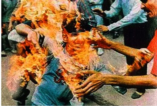 Rajiv Goswami in flames