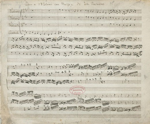 "This is an image of the oldest surviving copy of Johann Pachelbel's ""Canon and Gigue in D major""."