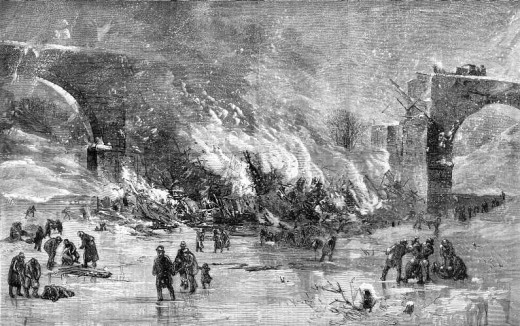 Wood engraving depicting the Ashtabula Bridge Disaster. The artist is not known, but because it was published in the United States before 1923