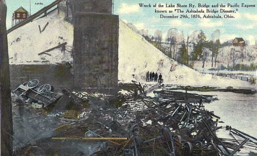Postcard photo from the Ashtabula River Bridge disaster that occurred in 1876. Date 12 February 1910 by F. M. Kirby Company