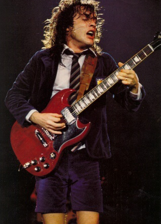 Angus Young playing a Gibson SG
