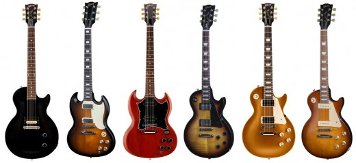 Here we show a range of new Gibson guitars (each priced under $900): Les Paul CM T; SG Special T; SG Faded Series T; Les Paul Studio Faded Series T; Les Paul '50s Tribute T; and Les Paul '60s Tribute T (from left to right).