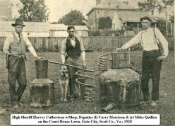 Scott County, Virginia, 1928. Moonshiners show their wares