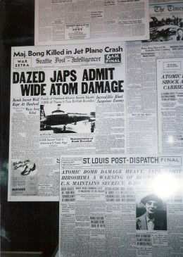 Newspaper articles about the Hiroshima bombing at the National Air & Space Museum 1995.