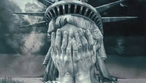 I'd hide my face too, Lady Liberty, if I saw what was happening in America today.