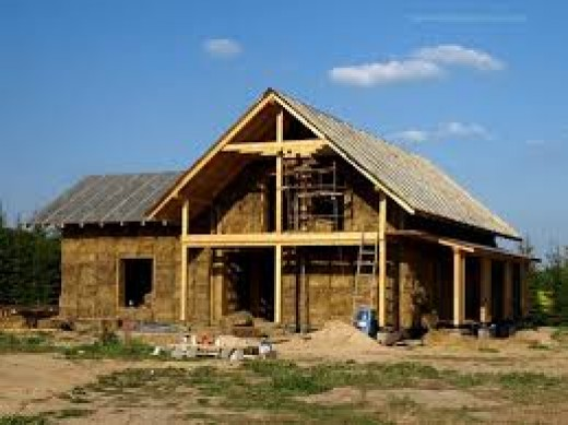 A House build with straw bale and wood