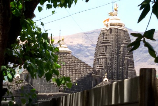 Trimbakeswara  temple with Bramha Giri in the background