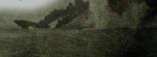 Hit by the German battlecruiser Von der Tann, the British battleship is blown apart.