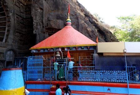The temple dedicated to Hindu goddess Ekbira is in front of the Chaityagriha