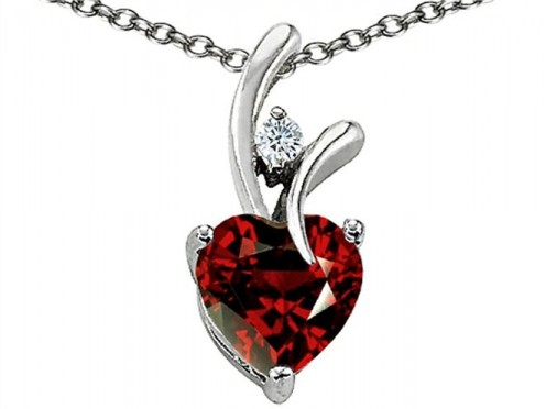 Star K Heart Shape 8mm Simulated Garnet Pendant Sterling Silver