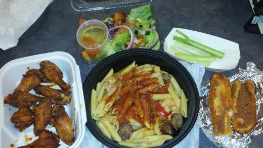 Photo of my takeout food from Ron's Original Bar and Grill as soon as it arrived.