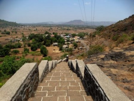 The steps going up the hill to the caves; Bhaja