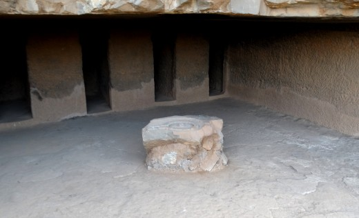 A Vihara in Bhaja, with a small Shiva Lingam on the floor which must be a later addition