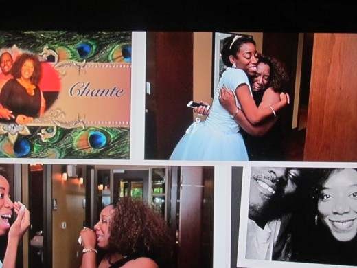 A video was shown during the shower of Chante's life with her four children and Steve, her fiancé shown in the black and white photo in the lower right corner.