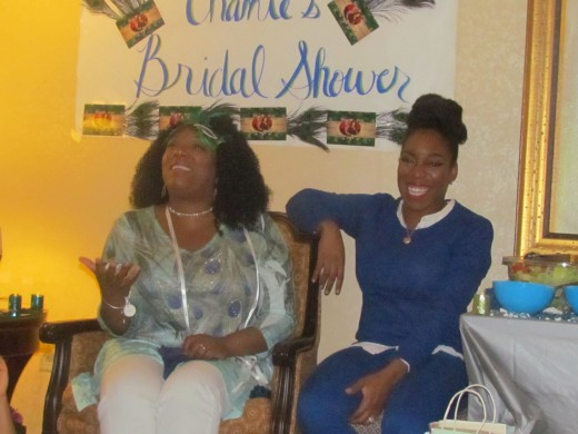 Chante, demonstrates excitement as a variety of gifts were opened during the shower.