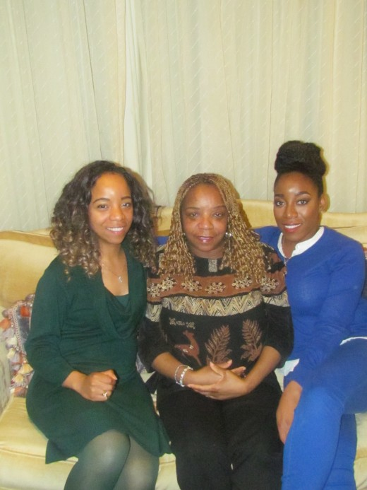 My twin sister Claudette/angelladywriter and her two daughters who sponsored the bridal shower Wanisha and Jaleesa.