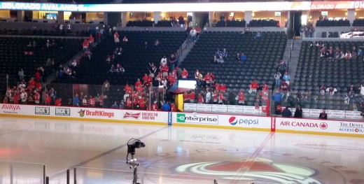 Chicago Blackhawks fans swarming in Pepsi Center before a Colorado Avalanche game.