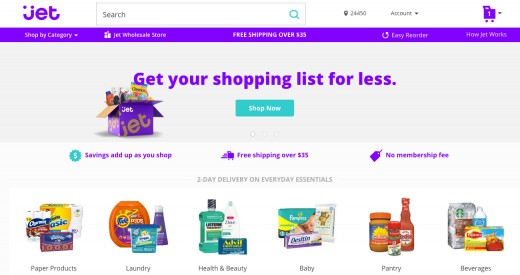 Jet.com Homepage/Searchbar