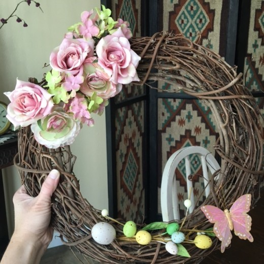 My spring wreath, before creating and adding the bow.