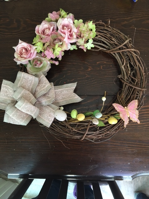 My spring wreath, with bow created and added.