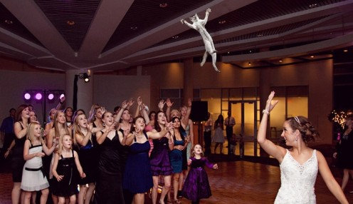 A creative bride tosses a cat instead of her bouquet