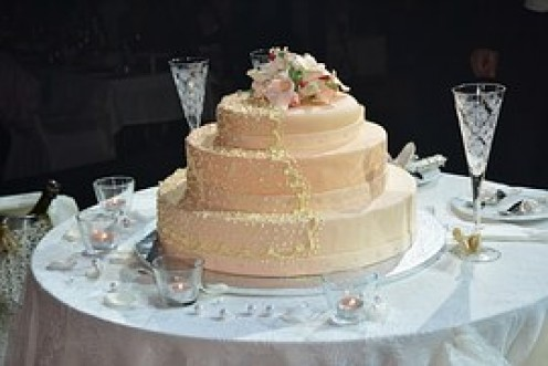 The bridal couple's cake