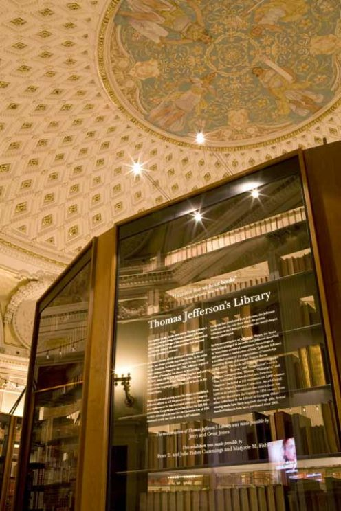 Library of Congress Thomas Jefferson Library display: the personal replacement of a library destroyed by war.