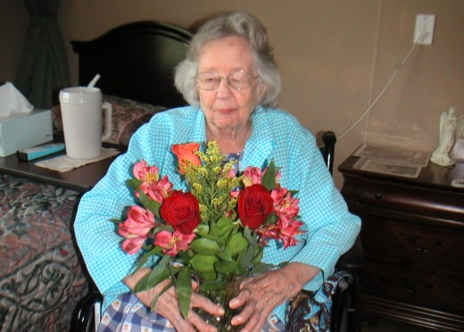 Seniors enjoy the gift of fresh flowers
