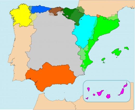 Active separatist movements in Spain.
