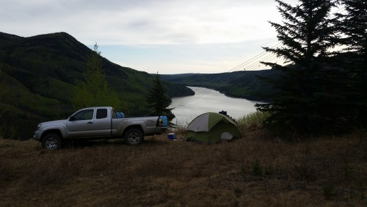 First camping trip this year! Just a quick over night trip this time.  Overlooking the Peace River.