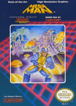 Box art for the US version of Mega Man / Rock Man