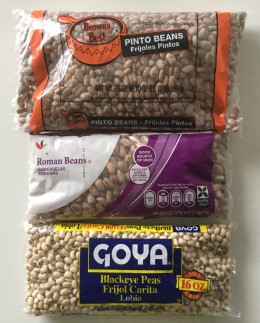 Example of individual bags of various dry beans I use. Mix and match as you wish.