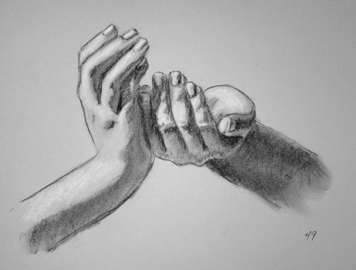 Charcoal drawing of hands. #49