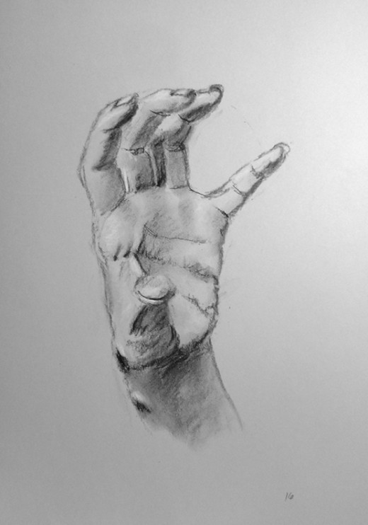 Charcoal drawing of a hand. #16