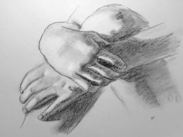 Charcoal drawings of hands.  #34