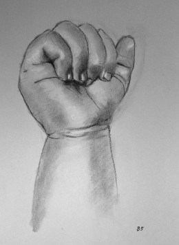 Charcoal drawing of a hand.  #85