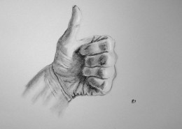 Charcoal drawing of a hand.  #87