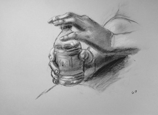 Charcoal drawing of hands.  #69