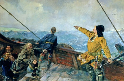Christian Krohg painting of Leif Eiriksson on his ship, closing on Greenland