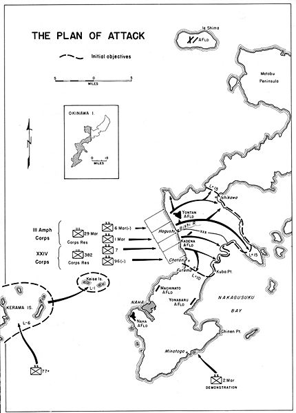 A map depicting the U.S. forces landing plan.