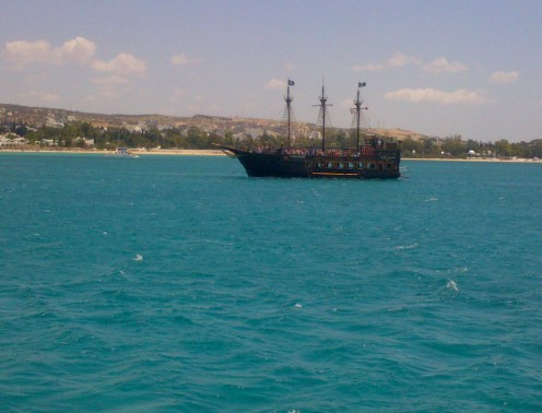 The pirate ships are a common feature in the bay of Hammamet