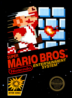 Box art for the US version of Super Mario Brothers.