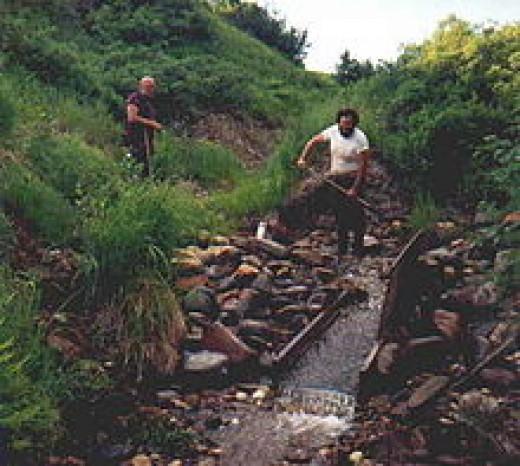Miners working a sluice in Alaska