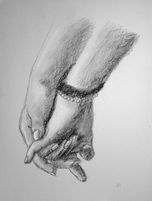 Hands in charcoal. #31