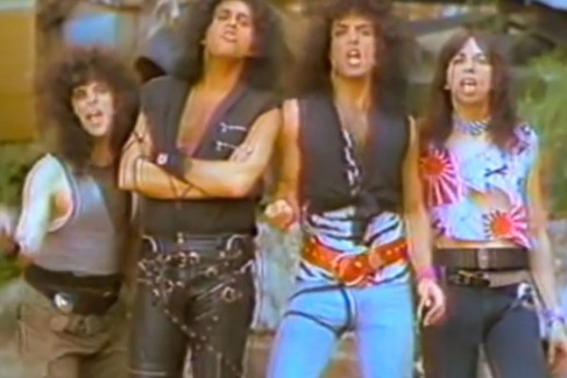 The band Kiss in the music video Lick It Up. Without their iconic makeup. Pretty revolutionary and surreal when it occurred.