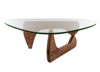Noguchi Hardwood & Glass Coffee Table
