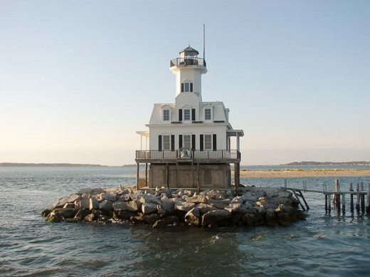 Bug Light marks the entrance to Peconic Bay at the eastern end of Long Island. The original structure was on screw piles making it look like a water bug.