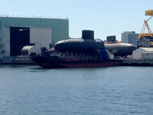 This is where the first nuclear powered submarine was built, and where subs continue to be built today. We saw one!
